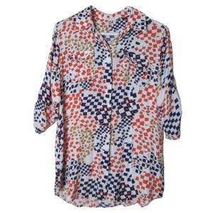 CAbi grand prix button down shirt tab sleeves